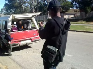 Thembeni filming the illegal transportation of minors